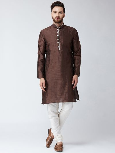 Sojanya (Since 1958) Men's Silk Brown Kurta & Off White Churidar Pyjama Set