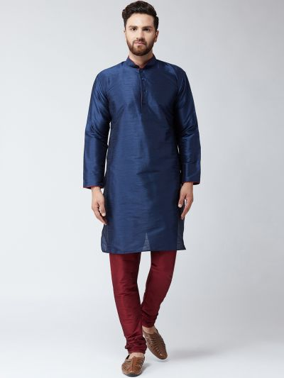 Sojanya (Since 1958) Men's Silk Navy Blue Kurta & Maroon Churidar Pyjama Set