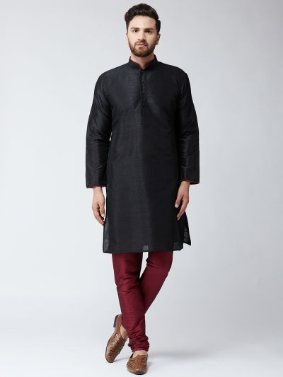 Sojanya (Since 1958) Men's Silk Black Kurta & Maroon Churidar Pyjama Set