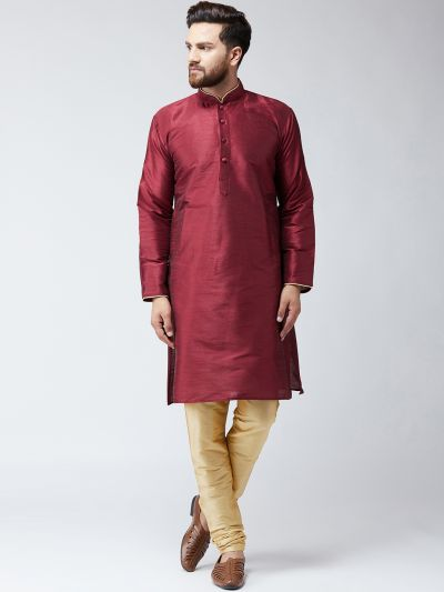 Sojanya (Since 1958) Men'sSilk Maroon Kurta & Gold Churidar Pyjama Set