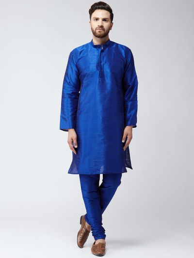 Sojanya (Since 1958) Men's Silk Roy Blue Kurta With Churidar Pyjama Set