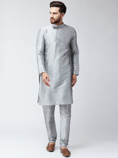 Sojanya (Since 1958) Men's Silk Grey Kurta With Churidar Pyjama Set