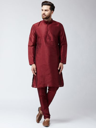 Sojanya (Since 1958) Men's Silk Maroon Kurta With Churidar Pyjama Set