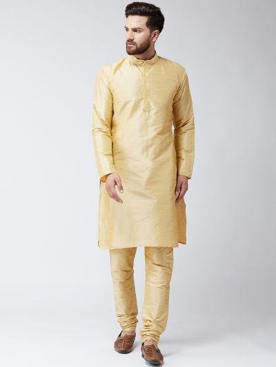 Sojanya (Since 1958) Men's Silk Gold Kurta With Churidar Pyjama Set