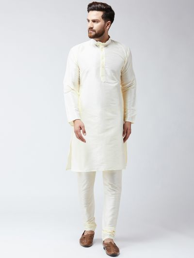 Sojanya (Since 1958) Men's Silk Cream Kurta With Churidar Pyjama Set