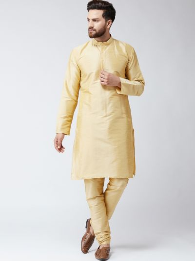 Sojanya (Since 1958) Men's Silk Gold Only Long Kurta