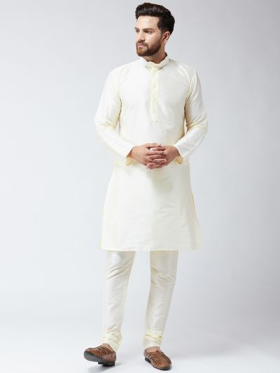 Sojanya (Since 1958) Men's Silk Off-White Only Long Kurta