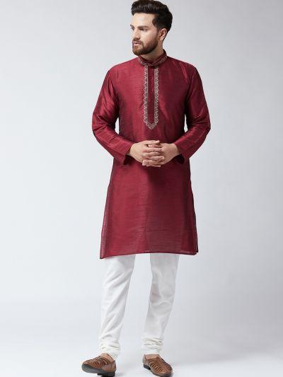 Sojanya (Since 1958) Men's Silk Maroon Only Long Kurta