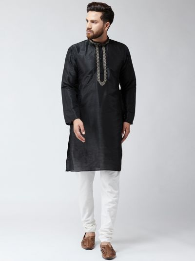 Sojanya (Since 1958) Men's Silk Black Only Long Kurta