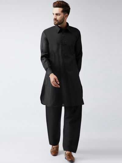 Sojanya (Since 1958) Men's Cotton Black Pathani Kurta Set