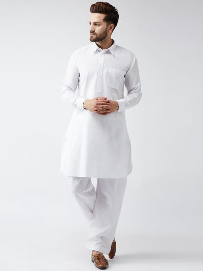 Sojanya (Since 1958) Men's Cotton White Pathani Kurta Set