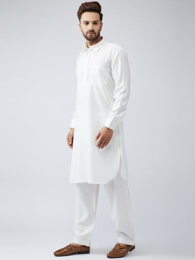 Sojanya (Since 1958) Men's Cotton Cream Pathani Kurta Set