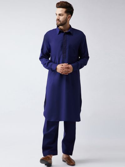 Sojanya (Since 1958) Men's Cotton Navy Blue Pathani Kurta Set