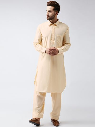 Sojanya (Since 1958) Men's Cotton Fawn Pathani Kurta Set