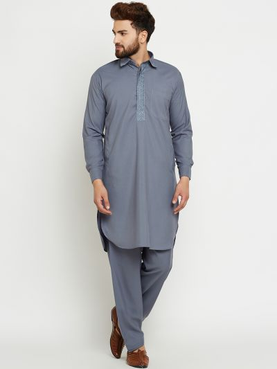 Sojanya (Since 1958) Men's Cotton Slate Grey Pathani Kurta Set