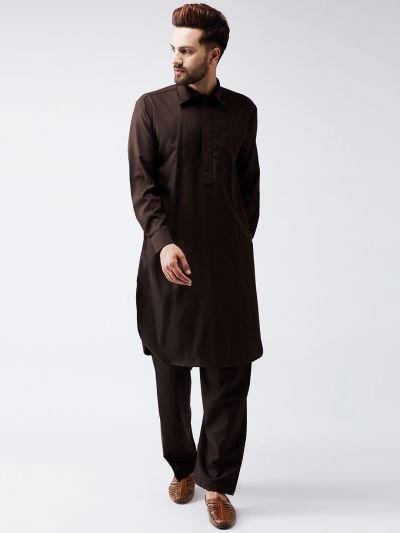Sojanya (Since 1958) Men's Cotton Dark Brown Pathani Kurta Set