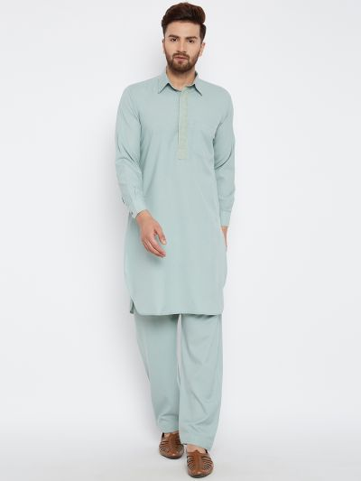 Sojanya (Since 1958) Men's Cotton Olive Pathani Kurta Set