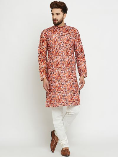 Sojanya (Since 1958) Men's Cotton Orange Kurta & Off-White Churidar Pyjama Set