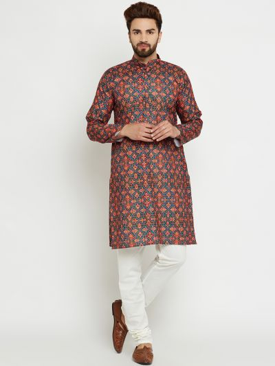 Sojanya (Since 1958) Men's Cotton Multi Kurta & Off-White Churidar Pyjama Set
