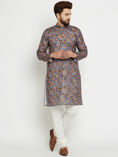Sojanya (Since 1958) Men's Cotton Brown Kurta & Off-White Churidar Pyjama Set