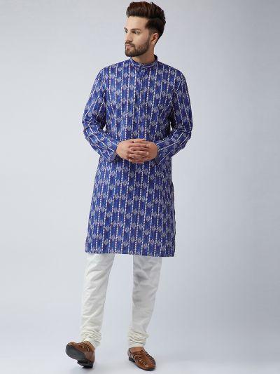 Sojanya (Since 1958), Men's Cotton Blue Kurta and Off White Churidar Pyjama Set