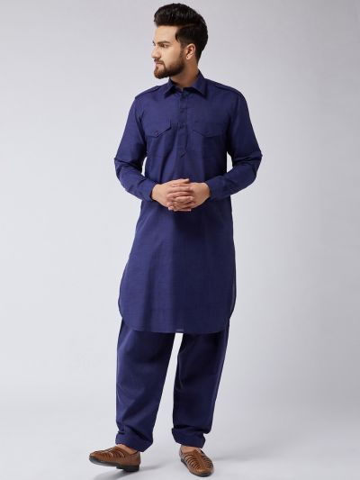 Sojanya (Since 1958) Men's Cotton Navy Blue Pathani Kurta Salwar Set