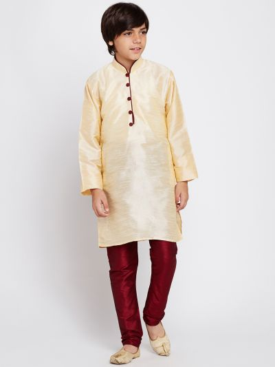 Sojanya (Since 1958), Golden, Dupion Silk Blend Kurta Churidaar Set