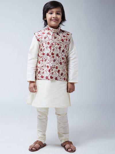 Sojanya (Since 1958), Kids Cream Silk Kurta With Churidaar Pyjama & Printed Nehru Jacket set