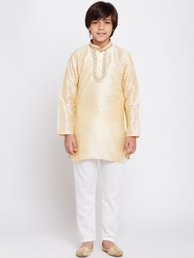 Sojanya (Since 1958), Golden, Designer Banarsi Dupion Silk Blend Kurta Churidaar Set