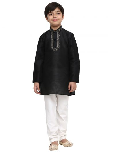 Sojanya (Since 1958), Black, Designer Banarsi Dupion Silk Blend Kurta Churidaar Set