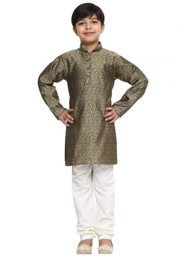 Sojanya (Since 1958), Bronze, Men's Silk Kurta & Churidaar Pyjama