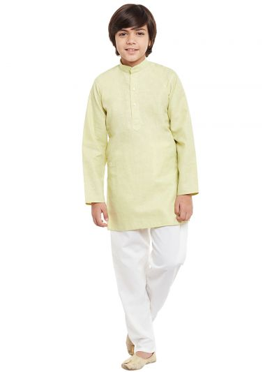 Sojanya (Since 1958), Limegreen, Cotton Linen Kurta Pyjama Set