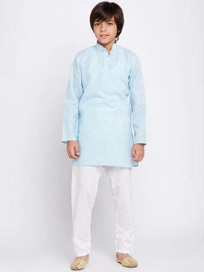 Sojanya (Since 1958), Sky Blue, Cotton Linen Kurta Pyjama Set