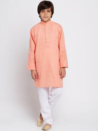 Sojanya (Since 1958), Orange, Cotton Linen Kurta Pyjama Set