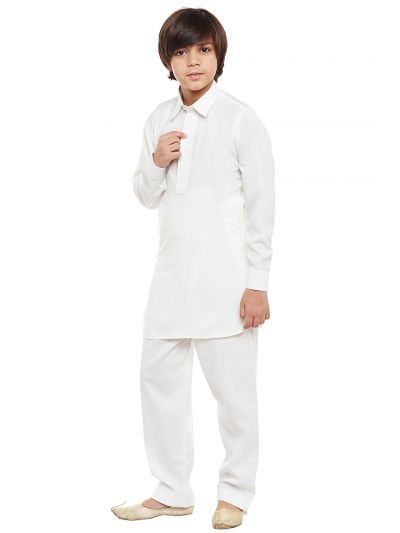 Sojanya (Since 1958), Off-White, Cotton Blend Pathani Kurta Salwar