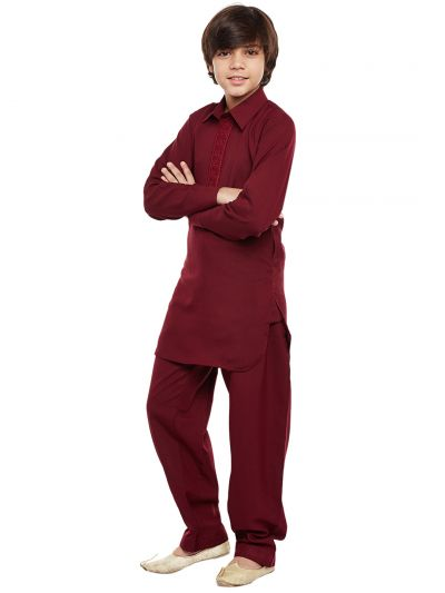 Sojanya (Since 1958), Maroon, Cotton Blend Pathani Kurta Salwar
