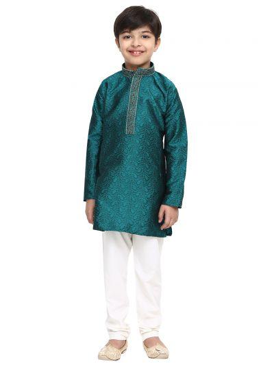 Sojanya (Since 1958), Emerald Green, Designer Kurta with embroidery on neck & Churidaar Pyjama, Jacquard Silk