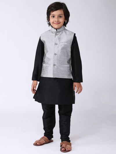 Sojanya (Since 1958), Kids Silk Blend Grey ONLY Nehrujacket