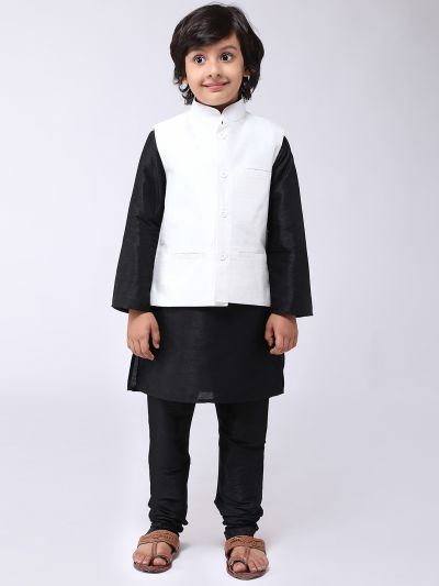 Sojanya (Since 1958), Kids Silk Blend Cream ONLY Nehrujacket