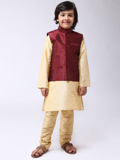 Sojanya (Since 1958), Kids Silk Blend Maroon ONLY Nehrujacket