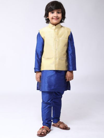 sojanya (Since 1958), Kids Silk Blend Gold ONLY Nehrujacket