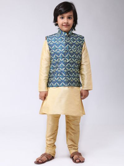 Sojanya (Since 1958), Kids Silk Blend Blue Printed ONLY Nehrujacket