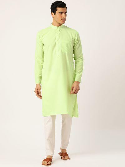 Sojanya (Since 1958), Men's Cotton Green Solid ONLY Kurta