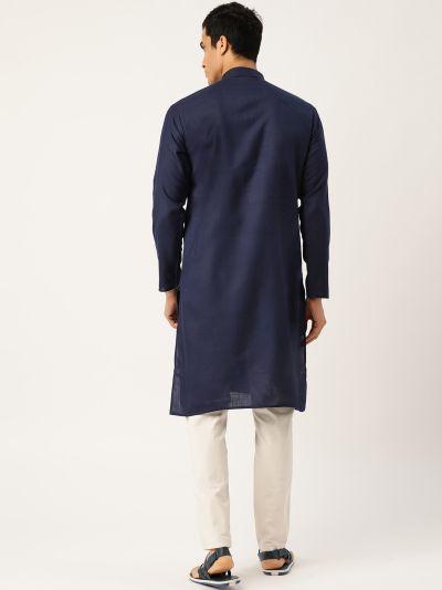 Sojanya (Since 1958), Men's Cotton Navy Blue Solid ONLY Kurta