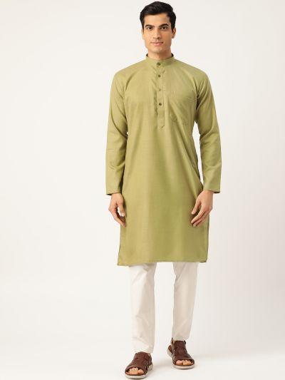 Sojanya (Since 1958), Men's Cotton Pista Green Solid ONLY Kurta