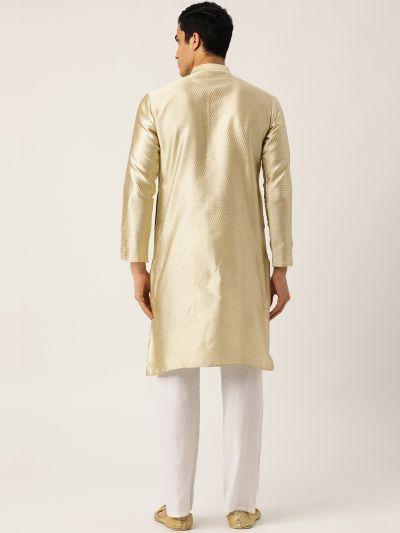 Sojanya (Since 1958), Men's Silk Blend Beige Self Design ONLY Kurta