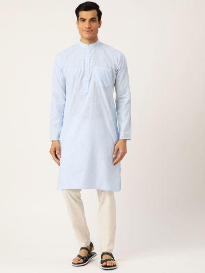 Sojanya (Since 1958), Men's Cotton Sky Blue & White Striped ONLY Kurta
