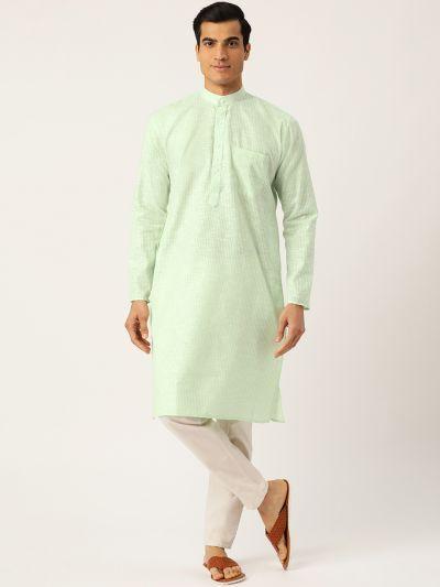 Sojanya (Since 1958), Men's Cotton Green & White Striped ONLY Kurta