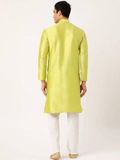 Sojanya (Since 1958), Men's Silk Blend Green Self Design ONLY Kurta