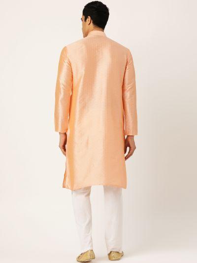 Sojanya (Since 1958), Men's Silk Blend Peach Self Design ONLY Kurta